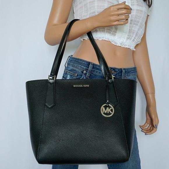 80481ed6aa7fd Michael Kors Kimberly LG Leather Bonded Tote Black